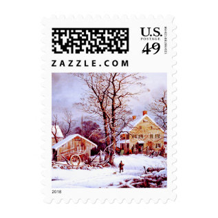 Vintage Winter Scene Christmas Postage Stamps at Zazzle