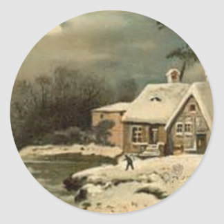 Vintage Winter Scene Classic Round Sticker