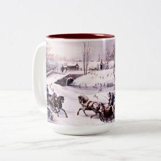 Vintage Winter Scene. Fine Art Christmas Gift Mug