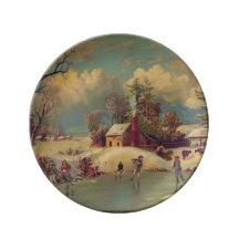 Vintage Winter Scene Porcelain Plate