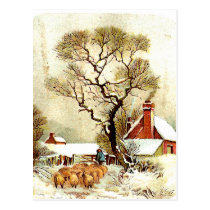 Vintage Winter Scene Postcard