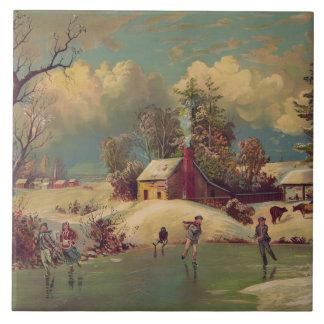 Vintage Winter Scene Tile