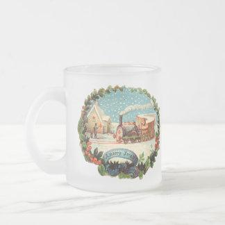 Vintage Winter Scene Train & Station Mugs