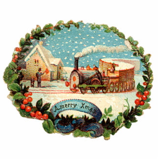 Vintage Winter Scene Train & Station Cut Out
