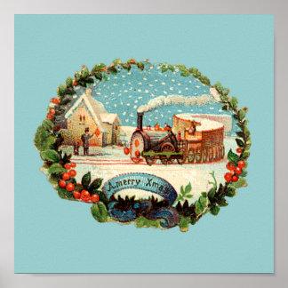 Vintage Winter Scene Train & Station Poster