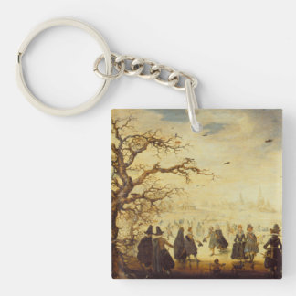 Vintage Winter Skaters Vergnuegen Single-Sided Square Acrylic Keychain