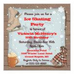 "Vintage Winter Skating Party Invitations 5.25"" Square Invitation Card"