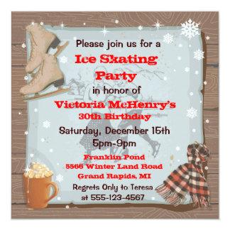 Vintage Winter Skating Party Invitations