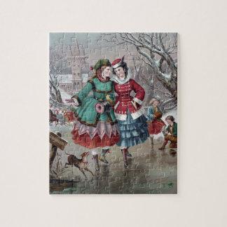 Vintage Winter Skating Scene Jigsaw Puzzles