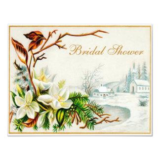 Vintage Winter Snow Church & Lilies Bridal Shower Card