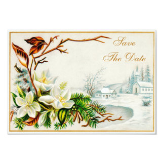 Vintage Winter Snow Church & Lilies Save The Date Card