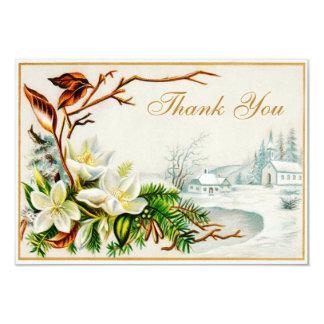 Vintage Winter Snow Church & Lilies Thank You Card