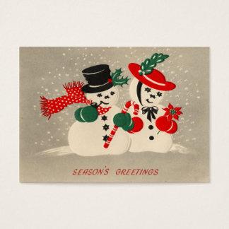 Vintage Winter Snow Couple Christmas Gift Tags