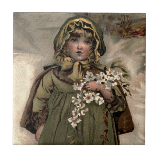 Vintage Winter Snow Girl Ceramic Tile