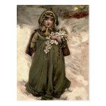 Vintage Winter Snow Girl Postcard