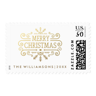 Vintage Winter Snowflake Gold Merry Christmas Postage at Zazzle