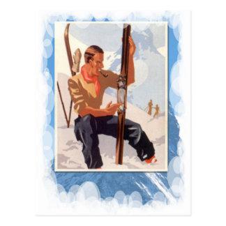 Vintage Winter Sports - Adjusting the skis Postcard