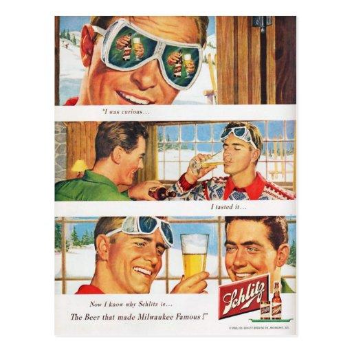 Vintage winter sports, Beer advertisement Postcards
