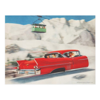 Vintage winter sports, car and cablecar postcard