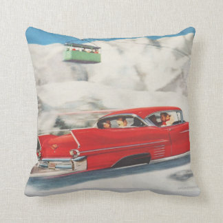 Vintage winter sports Cars and cablecars Throw Pillow