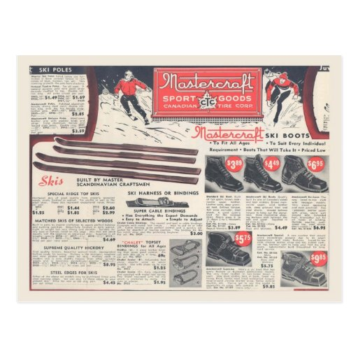 Vintage winter sports equipment advertising post cards