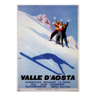 Vintage winter sports Italian Alps travel Posters