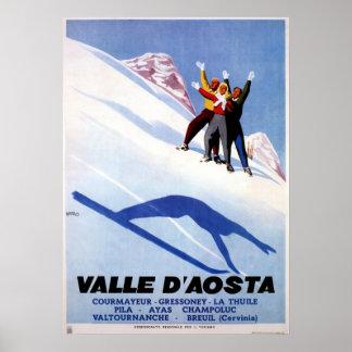 Vintage winter sports Italian Alps travel Poster
