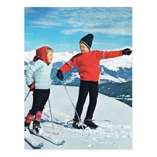 VIntage winter sports, kids on the ski slopes Post Cards