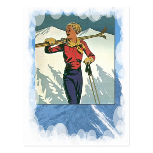 Vintage Winter Sports -Ready to ski Post Card