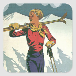 Vintage winter sports - Ready to ski Square Sticker
