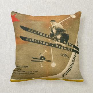 Vintage winter  sports, Russian ski poster Throw Pillow