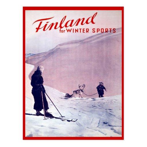 Vintage Winter sports, Ski Finland Postcards
