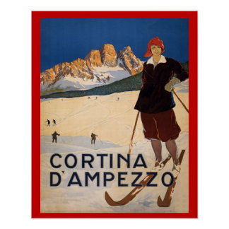 Vintage winter sports Ski Italy Cortina d Ampezzo Poster