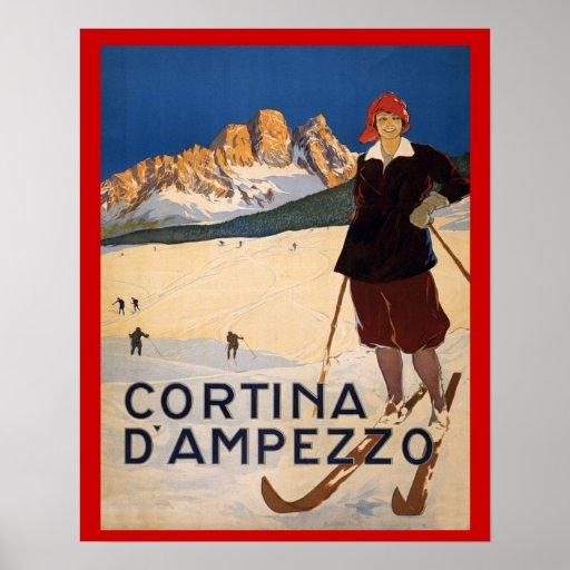 Vintage winter sports,Ski Italy, Cortina d'Ampezzo Poster