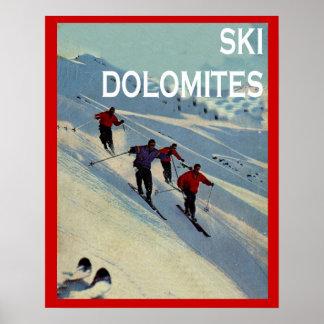 Vintage winter sports Ski Italy, Dolomites Print
