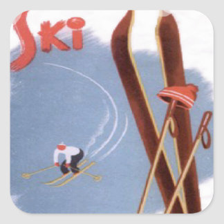 Vintage winter sports - Ski kit Square Sticker