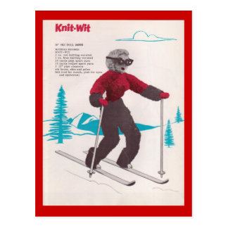 Vintage winter sports, Ski  Knit-wit Postcard