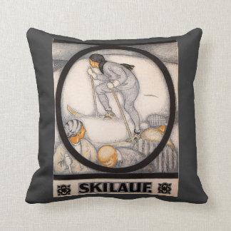 Vintage Winter Sports, Ski Lauf Throw Pillow