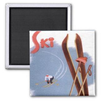 Vintage Winter Sports - Ski stuff 2 Inch Square Magnet