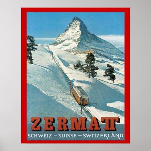 Vintage  Winter Sports, Ski Switzerland, Zermatt Print