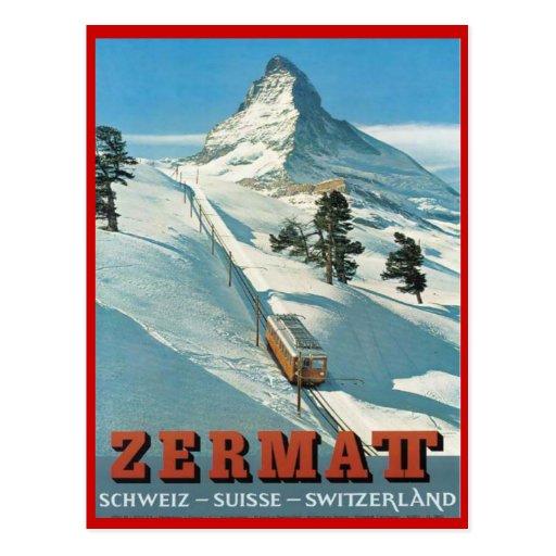 Vintage winter sports, Ski Zermatt, Switzerland Post Card