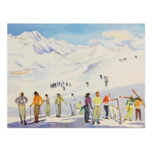 Vintage winter  sports, skiers  on the pistes post card