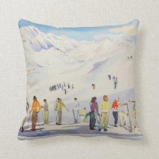 Vintage winter  sports, skiers  on the pistes throw pillow