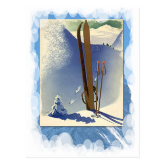 Vintage Winter Sports - Skis and slopes Postcard