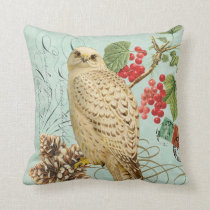 Vintage Winter white owl pillow