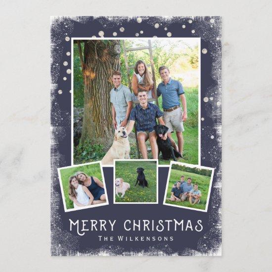 Vintage Winter Wonderland Christmas Photo Collage Holiday Card
