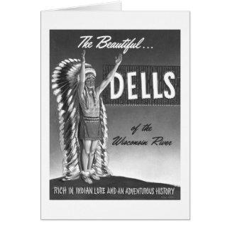 Vintage Wisconsin Dells 'Chief' Ad Art Kitsch Card