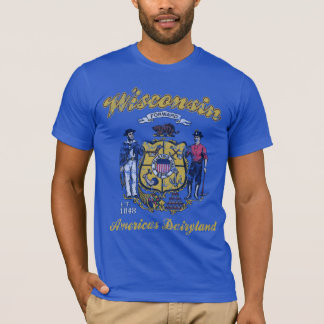 Vintage Wisconsin Flag America's Dairyland T-Shirt