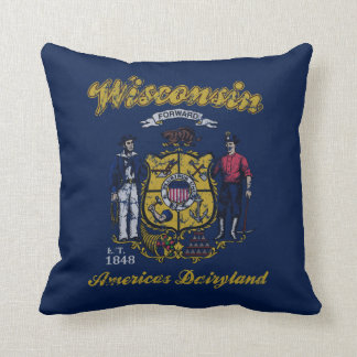 Vintage Wisconsin State Flag Americans Dairyland Pillows