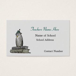 Vintage Wise Owl Teachers Business Card